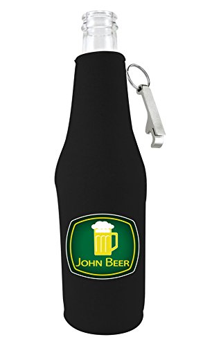 John Deere Kitchen Accessories - Coolie Junction John Beer Funny Beer Bottle Coolie w/Opener Black