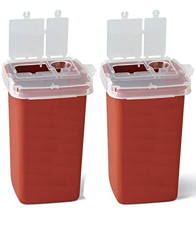 Global Sharps Container Biohazard Needle Disposal Container – 1 Quart (2 Pack)
