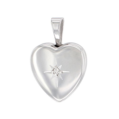 Very Tiny Sterling Silver Diamond Heart Locket Necklace 1/2 inch NO CHAIN - Baby Diamond Heart