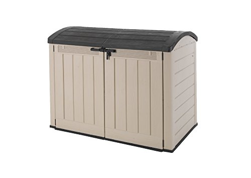 Keter 177 x 113 x 134 cm Store-It Out Ultra Outdoor Plastic Garden Storage Bike Shed - Beige and Brown