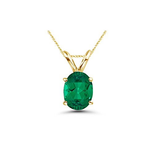 4.00-4.94 Cts of 12x10 mm AAA Oval Russian Lab Created Emerald Solitaire Pendant in 14K Yellow ()