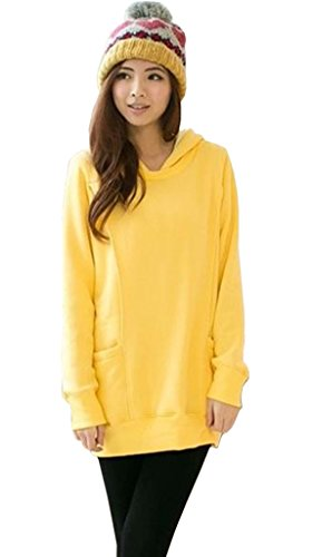 Woo2u Women Maternity Hooded Cotton Nursing Sweater Yellow L