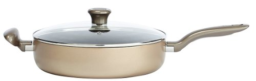 T-fal C06782 Metallics Oven Safe Nonstick Dishwasher Safe PFOA Free Jumbo cooker with Glass Lid, 5-Quart Cookware, Bronze (T Fal 5 Qt Jumbo Cooker compare prices)