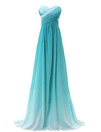 - JoyVany Women Ombre Chiffon Bridesmaid Dresses Gradient Pageant Formal Gowns 2018 Jade Size 6