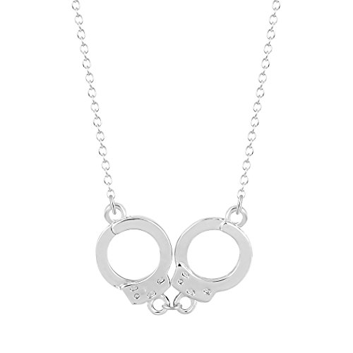 925 Sterling Silver Fashion Jewelry Handcuffs Choker Pendant Necklace Women Girl Lover Valentine's Day gifts (Cuff Sterling Silver Necklace)