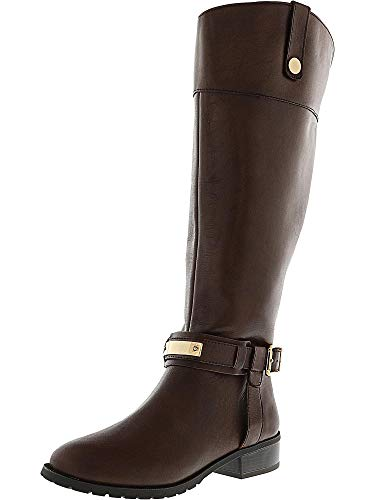 Cappuccino Fabbaa Inc Knee Women's high Calf Leather Nici Boot Equestrian Wide Tqv1BZ