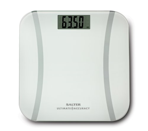 Salter Ultimate Accuracy Electronic Digital Bathroom Scales, Measure 50g Increments - Accurate Readings + Curve Design, Easy to Read Display, Weigh Metric + Imperial, Kg St lbs, 15yr Guarantee - White