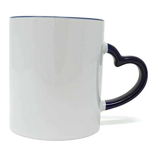 MITBAK Coffee Mug with Heart Shape Handle (12 oz) | White & Navy Ceramic Coffee/Tea Mug | Microwave Proof and Dishwasher Safe (Navy)