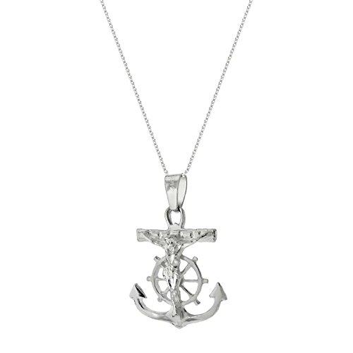 Mariner Crucifix Cross Anchor Sterling Silver Pendant 20in chain - Mariners Cross Anchor