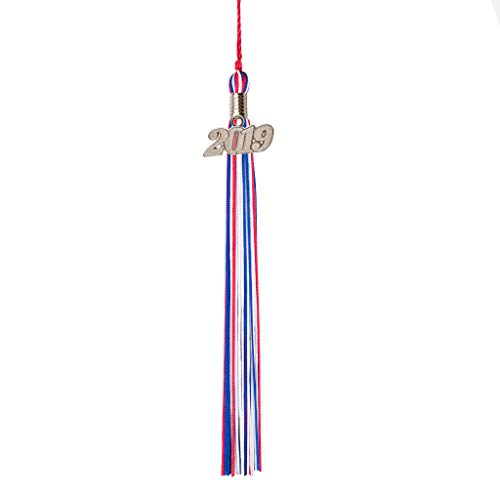 Class Act Graduation Blue Red and Silver Graduation Tassel with 2019 Silver Charm