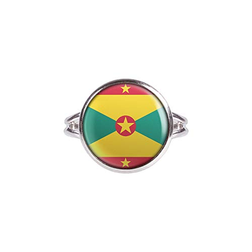 Mylery Ring with Cabochon Picture Grenada St. George's Flag Silver 0.55 inch