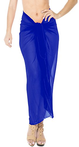 LA LEELA Sheer Chiffon Beach Bikini Pareo  Sarong Solid 78''X39'' Royal Blue_1655 by LA LEELA
