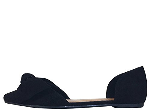 Open Bow Shank Skimmer with Women's Black Faux Bamboo Suede XqwTE5nxn