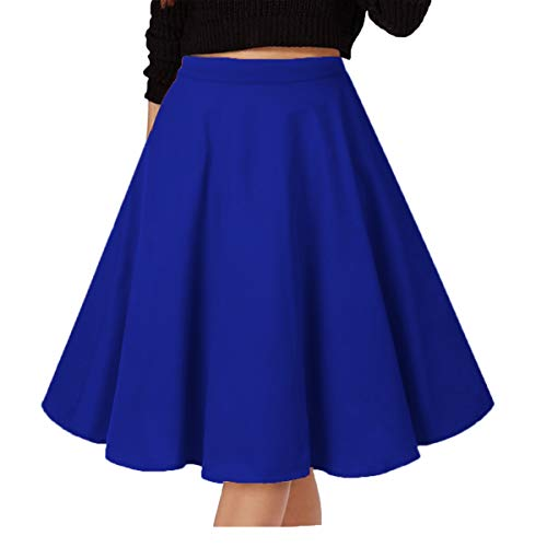 Musever Women's Pleated Vintage Skirts Floral Print Casual Midi Skirt A-Royal M