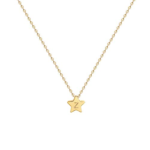 Gold Star Pendant Necklace,Personalized Initial Necklace,14K Gold Plated Dainty Cute Lucky Rising Star Necklaces for Women,Letter ()