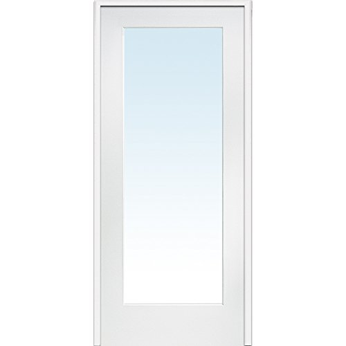 "National Door Company ZZ09296L Primed MDF 1 Lite Clear Glass, Left Hand Prehung Interior Door, 30"" x 80"""