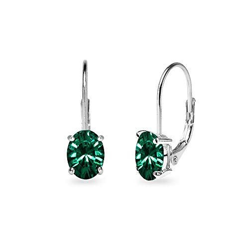 Huggie Earrings Green (Sterling Silver Green 6x4mm Oval-Cut Solitaire Tiny Huggie Leverback Earrings Made with Swarovski Crystals)