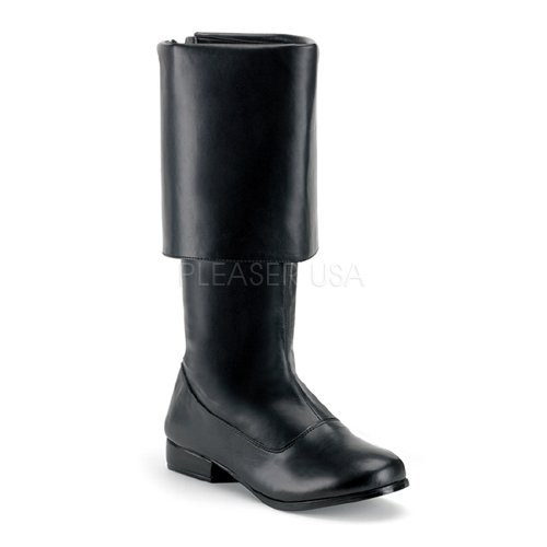 Cavalier Boots (Funtasma by Pleaser Men's Halloween Pirate-100,Black,M (US Men's 10-11 M))