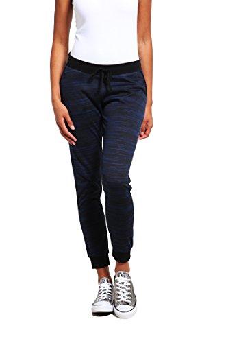 Jogginghose Damen eng-anliegend in Schwarz-Blau - The Style Room - Sporthose lang, Trainingshose mit Taschen, Freizeit-Hose, Sweatpants, Yoga Pants