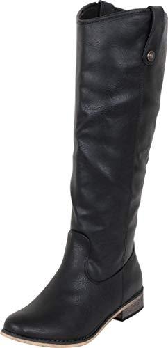 Cambridge Select Women's Western Riding Knee-High Cowboy Boot,9 B(M) US,Black PU