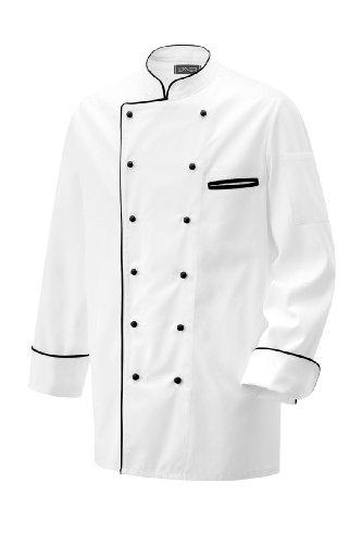 Weisse Kochjacke mit schwarzer Paspel, langarm Modell 203 von Exner (58)