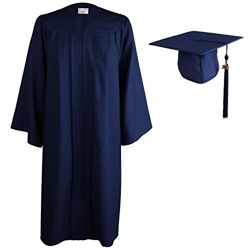 OSBO GradSeason Matte Graduation Gown Cap Tassel Set for High School and Bachelor (Navy, 57