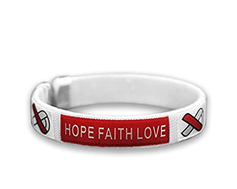 11424f9c0 purchase cancer awareness pink ribbon b red white ribbon fabric bangle  bracelet hope faith love adult