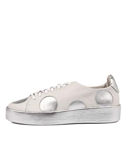 DJANGO & JULIETTE Libbys White Slvr Leather White Silver Womens Sneakers Casuals Shoes WHITE SILVER LEATHER LEATHER
