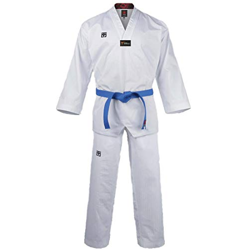 Mooto Korea Taekwondo Basic 4.5 Uniform Dobok White Neck WT Logo TKD Martial Arts MMA (190 (Height : 190~199cm)(6.23~6.53ft)