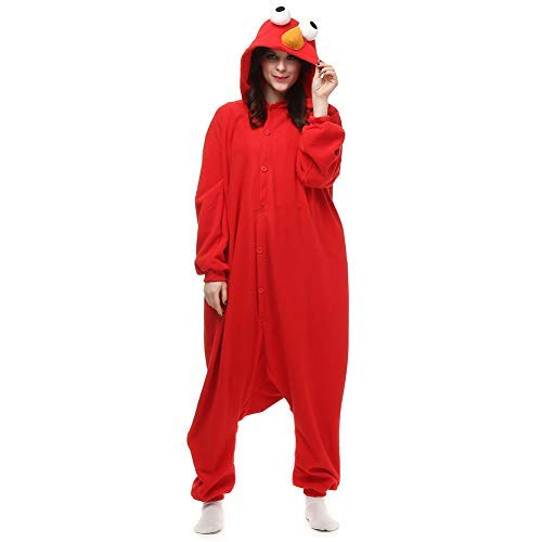 Amazing Cosplay Cookie Monster and Elmo Adult Onesie Animal Cosplay Costume Xmas XL Red