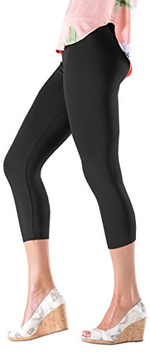 Lush+Moda+Seamless+Capri+Length+Basic+Cropped+Leggings+-+Variety+of+Colors+-+Black+OS