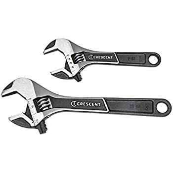 Crescent AC2610CVS 2 Piece 6 In Adjustable Wrench Set w// Non-Slip Handles and 10 In