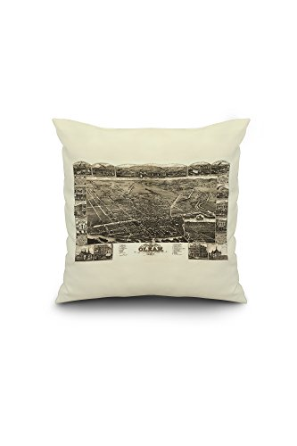 Olean, New York - Panoramic Map (16x16 Spun Polyester Pillow, Custom Border) (Olean New York compare prices)