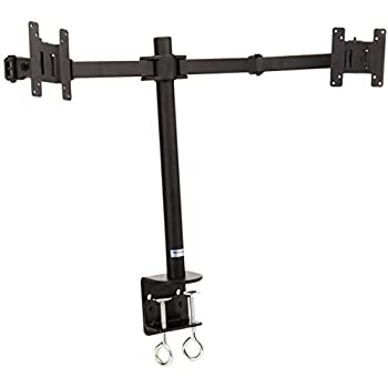 MonMount Dual LCD Monitor, Desk Mount Stand Arm Holds up to Two 27-Inch Screens, Black (LCD-194B)