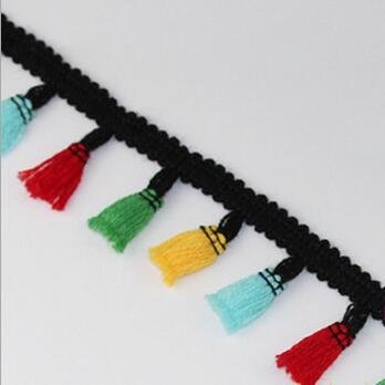 Laliva 4CM 5Yards Lace Tassel Ribbon Pompoms Trim Ball Fringe Ribbon Apparel Lace Fabric Cord DIY Sewing Accessory for Home Garment Cap - (Color: 6) ()