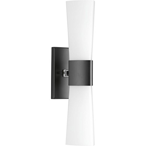 Progress Lighting P300062-031 Zura Black Two-Light Bath & Vanity Bracket Contemporary Bathroom Light
