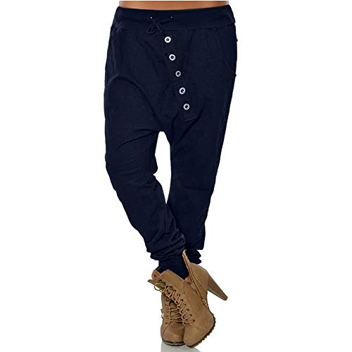 POQOQ Pants Trousers Women Fashion Hipsters Harem Pants Bloomers Baggy L Dark Blue