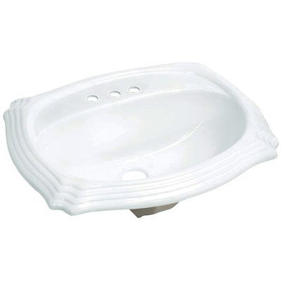 Console Sinks Bone Vitreous China (Fauceture Heritage LBT23198W34 Vitreous China Single Bowl Drop-In Lavatory Sink, White)