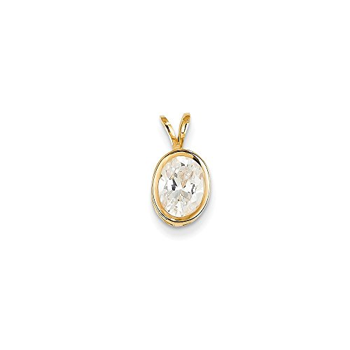 Solid 14k Yellow Gold 8x6mm Oval Cubic Zirconia bezel pendant