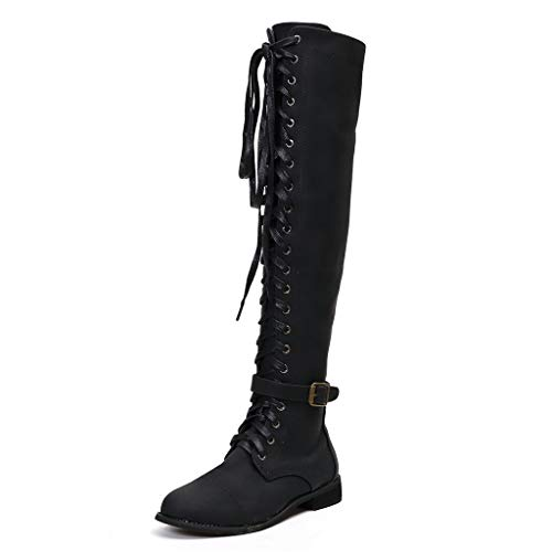 CCFAMILY Women Retro Low-Heeled Shoes Ladies Lace-UP Shoes Girls Long Tube Boots Knight Boots Rome Classic Boots Black