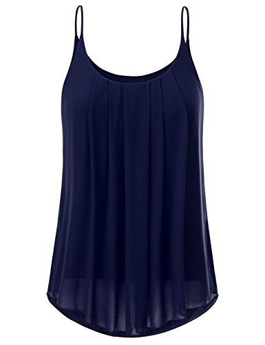 Uniboutique Women's Spaghetti Strap Pleated Chiffon Layered Cami Tank Top Sleeveless Blouse Tops Navy Blue (Layered Spaghetti Strap)