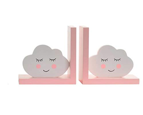 Item S/2 Children's Wood Pink/White Cloud Face Bookends, for sale  Delivered anywhere in USA