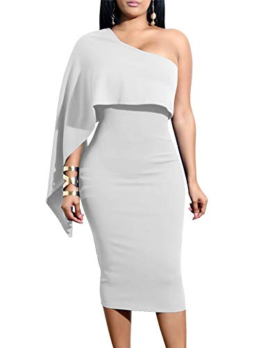 GOBLES Women's Summer Sexy One Shoulder Ruffle Bodycon Midi Cocktail Dress White