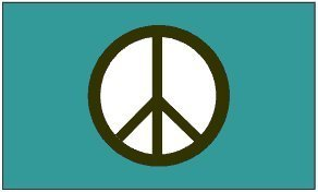 Peace Symbol Flag 3x5 - Green (Blue Peace Sign Garden Flag)