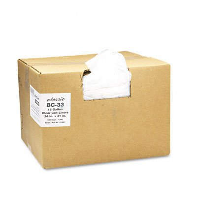 Classic Clear Clear Low-Density Can Liners, 16 Gal.6 Mil, 24 X 31, 500/Carton