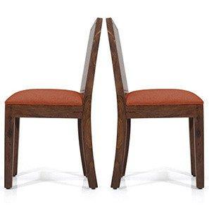 Urban Ladder Oribi Solid Wood Dining Chairs, Set of 2  Teak Finish Finish, Burnt Orange