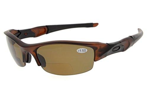 Eyekepper TR90 Unbreakable Half-Rim Sports Bifocal Sunglasses Baseball Running Fishing Driving Golf Softball Hiking Reading Glasses Brown Frame Brown Lens - Glasses Driving Bifocal
