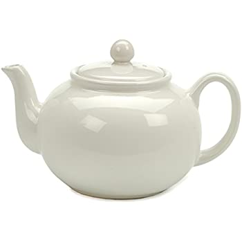 RSVP Large Stoneware 6-Cup Teapot, White