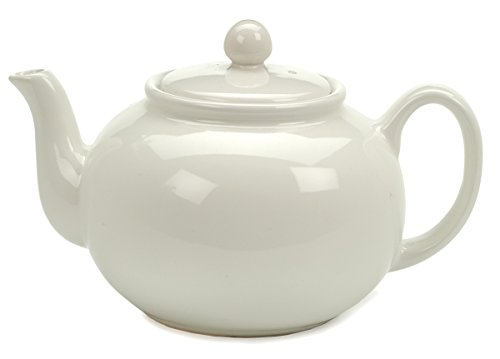(RSVP Large 6-Cup Stoneware Teapot, White)