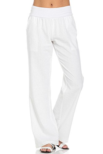 Womens White Linen Pants - 3